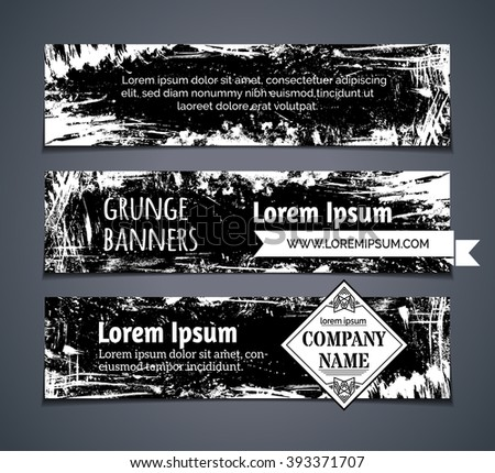 Vector set of blackboard horizontal banners. Chalk hand-drawn grunge stains, flourishes and blots on blackboard banners. There is place for your text. - stock vector