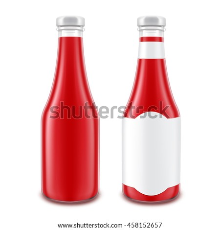 Vector Set of Blank Glass Red Tomato Ketchup Bottle for Branding without with Label Isolated on White Background - stock vector