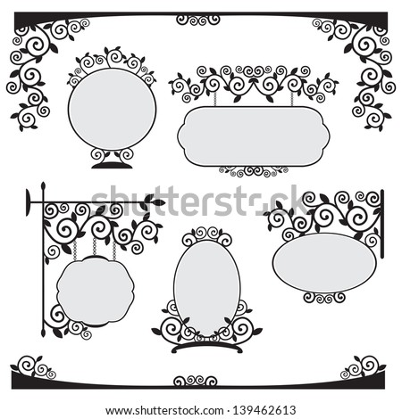 Vector set of blank signs with forged pattern - stock vector
