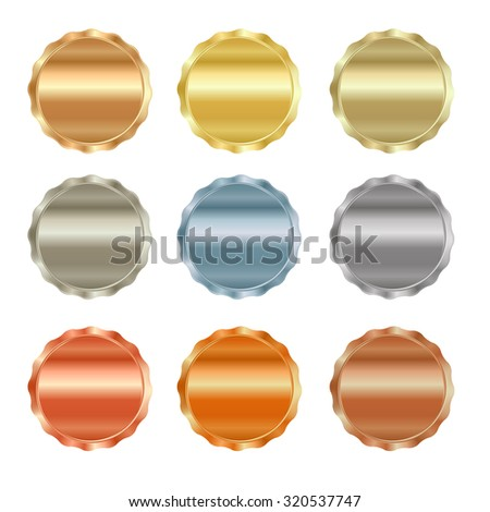 Vector set of blank stamps of gold, red gold, white gold, platinum, silver, bronze, copper, brass, aluminum, which can be used as icons, buttons, coins, medals - stock vector