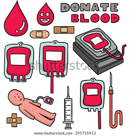 vector set of blood donation - stock vector
