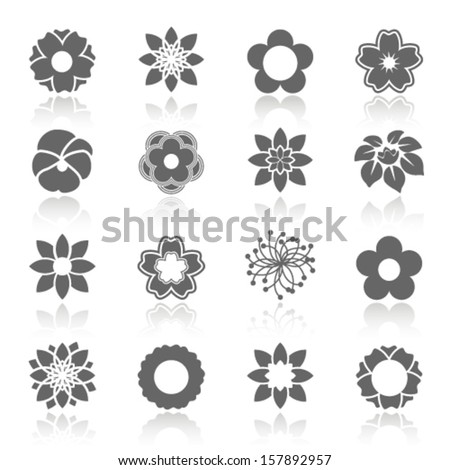 Vector set of blooming flowers with shadow - symbol, icon of flower - stock vector