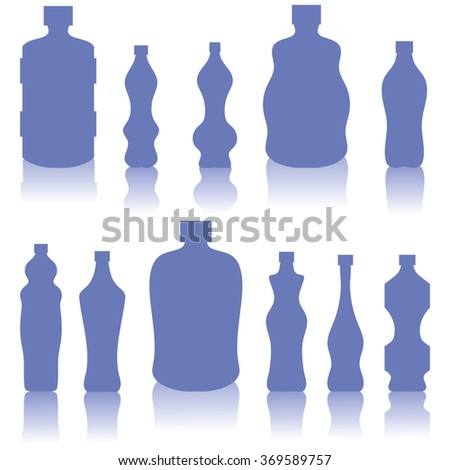 Vector Set of Blue Bottles Silhouettes - stock vector
