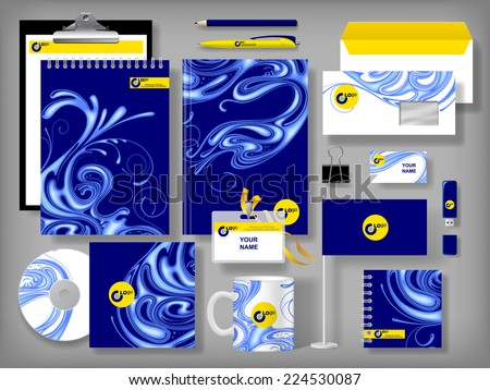 Vector set of blue design corporate identity templates with notepad, envelope, business card, CD, flag, badge, mug  and other office accessories - stock vector