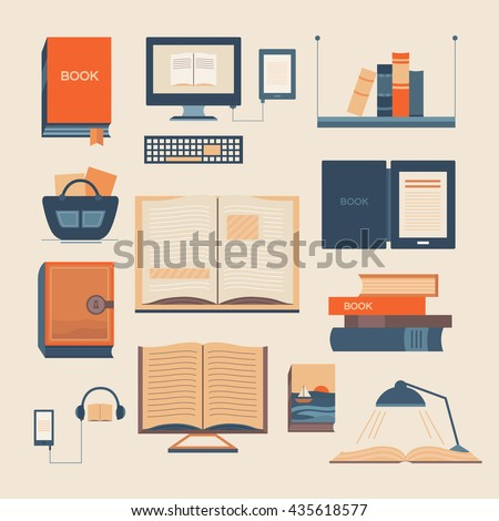 Vector set of books. Collection of vector elements with open book, ebook, bookshelf, audiobook, a stack of books. Background for banners, invitation cards, web pages, covers, advertising. - stock vector