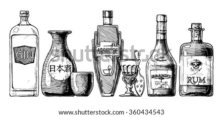 Vector set of bottles of alcohol in ink hand drawn style. isolated on white. Distilled beverage. Gin, sake, absinthe, brandy, rum. - stock vector
