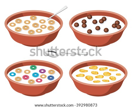 vector set of bowls with breakfast cereal in milk - stock vector