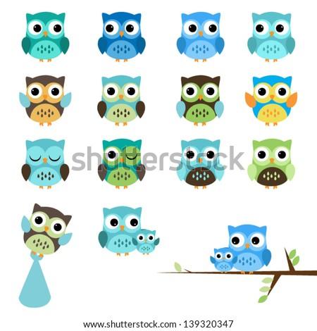 Vector Set of Boy Baby Shower Owls - stock vector