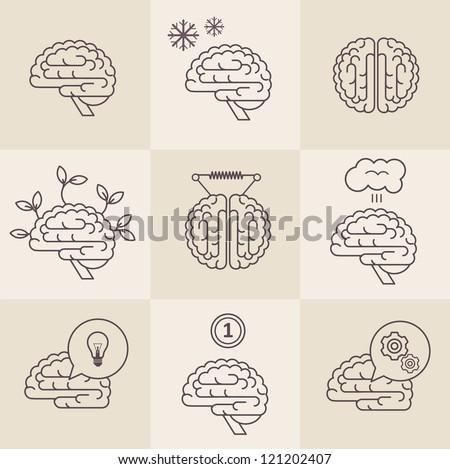 Vector set of 9 brain icon designs - stock vector