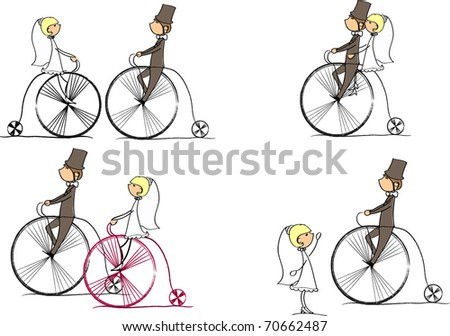 vector set of bride and groom riding a bike - stock vector