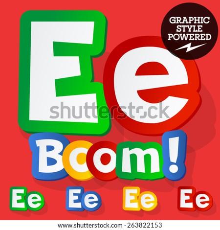 Vector set of bright colorful alphabet for children. Playful sticker font. Letter E - stock vector