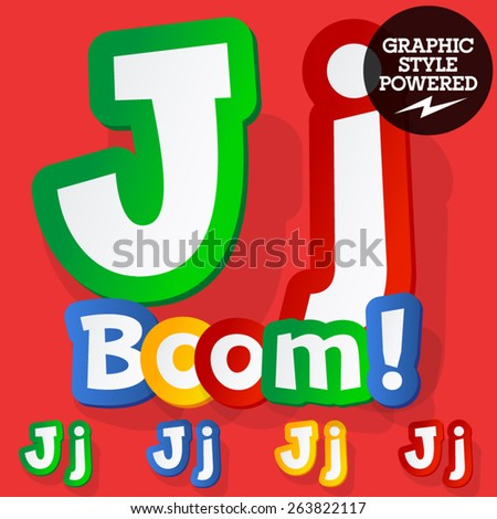 Vector set of bright colorful alphabet for children. Playful sticker font. Letter J - stock vector