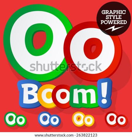 Vector set of bright colorful alphabet for children. Playful sticker font. Letter O - stock vector