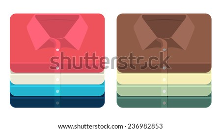 Vector set of bright folded shirts icons  - stock vector