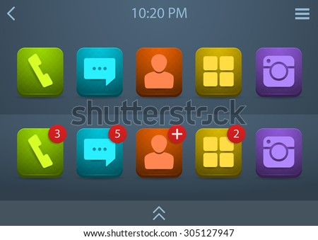 Vector set of bright icons for mobile phone ui, eps10  - stock vector