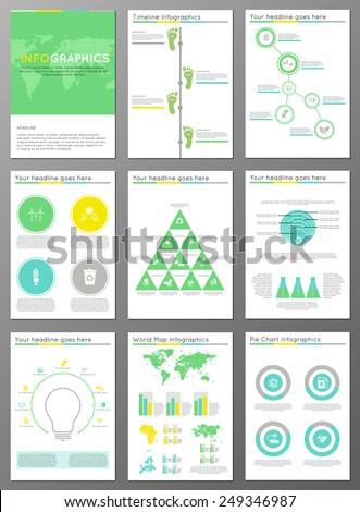 Vector set of brochure or flyer design template. Applications and Online Services Infographic Concept. Infographic elements concerning to ecology, reneable energy and sustainable development themes - stock vector