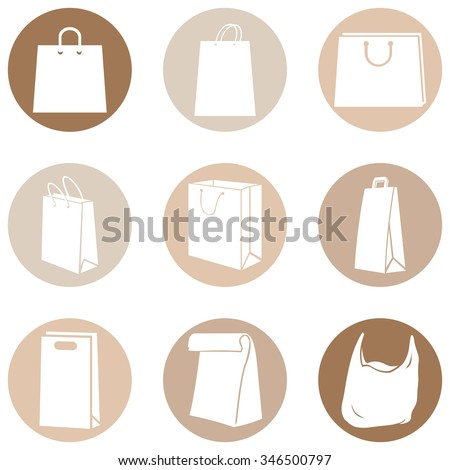 Vector Set of Brown Circle Shopping Bags Icons - stock vector