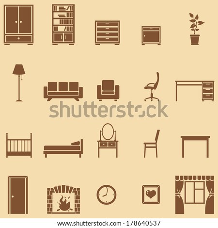 vector set of 20 brown furniture  icons  - stock vector