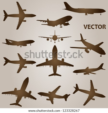 Vector set of brown planes or airplanes flying isolated on beige background - stock vector