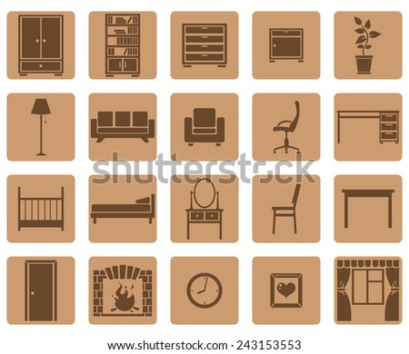 Vector Set of Brown Square Furniture Icons - stock vector