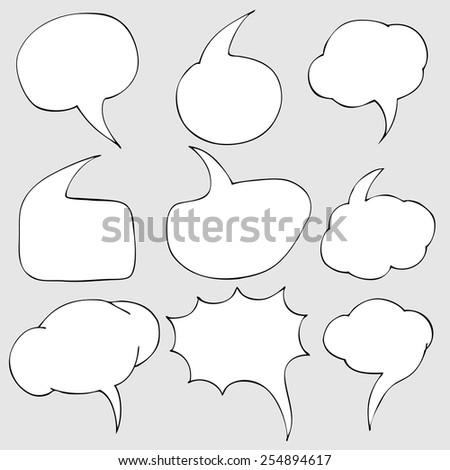 Vector Set of Bubbles. Talk and Think - stock vector