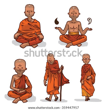 Vector set of Buddhist monks in orange clothes. Cartoon image of five bald Buddhist monks of different ages in orange clothes and in different poses on a light background. - stock vector
