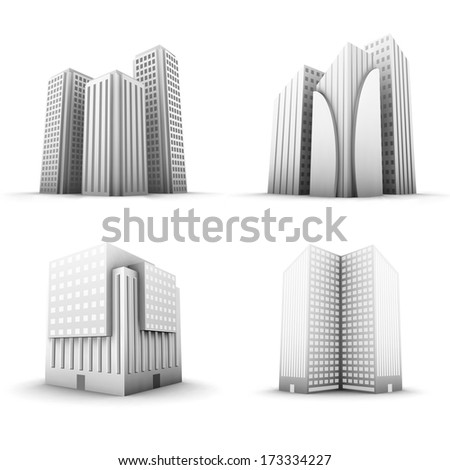 Vector set of buildings. - stock vector