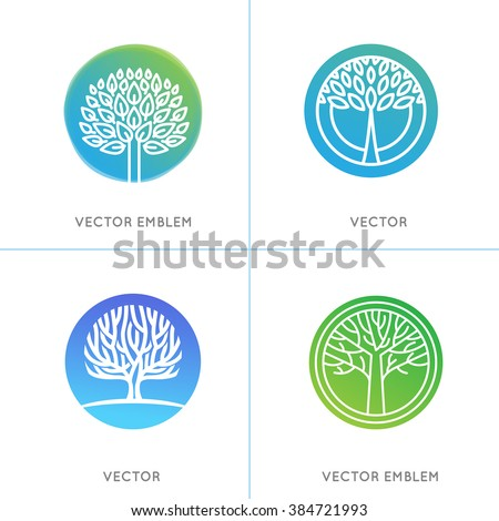 Vector set of business and abstract emblems in green gradient colors - trees and plants - growth concepts - stock vector