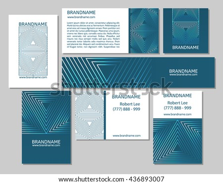 Vector set of business cards flayers banners with triangle pattern on a green blue teal background. Modern abstract style, linear ornament. - stock vector