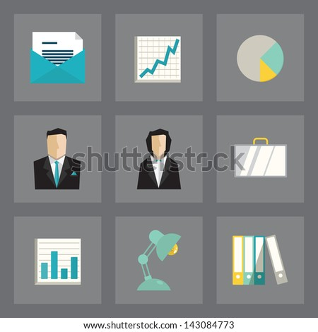 Vector set of business icons in modern flat design on gray background - stock vector