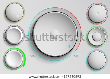 vector set of buttons, volume control - stock vector
