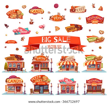 Vector set of Cafe, restaurant, ice-cream shop and bakery. - stock vector