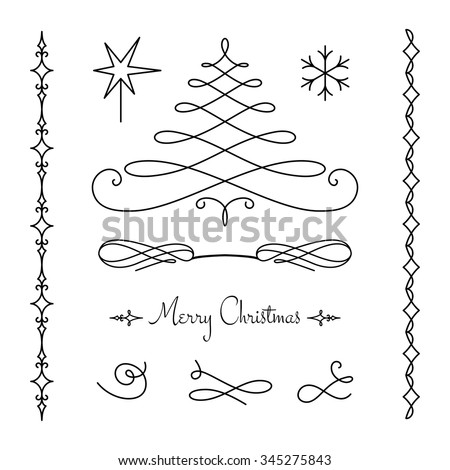 Vector set of calligraphic decorative elements, simple vignettes, flourishes and borders on white, page decoration template, scroll embellishment in retro style for Christmas design - stock vector