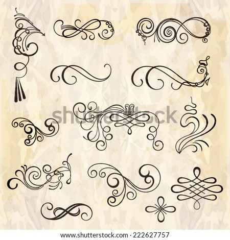 vector set of calligraphic design elements - stock vector