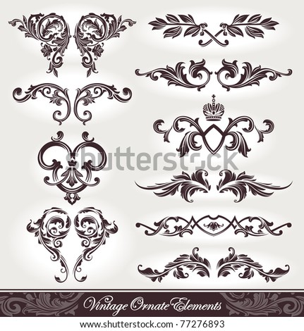 Vector set of calligraphic design elements. - stock vector