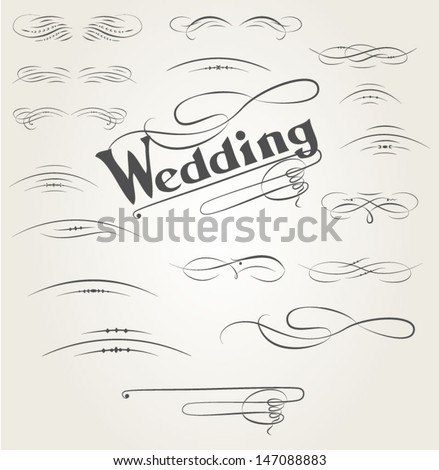 Vector set of calligraphic design elements for wedding cards - stock vector