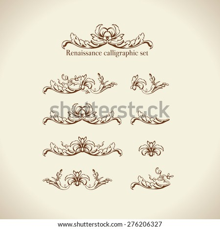 Vector set of calligraphic design elements, page decor, dividers and ornate headpieces - stock vector