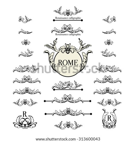 Vector set of calligraphic design elements, page decor, dividers and ornate headpieces. Rome style calligraphy. - stock vector