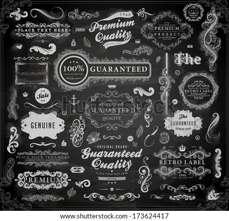 Vector set of calligraphic design elements: page decoration, Premium Quality and Satisfaction Guarantee Label, antique and baroque frames | Chalkboard background. Black illustration variant. - stock vector