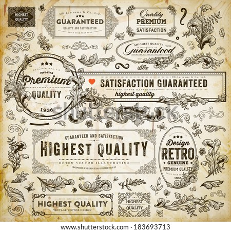 Vector Set of Calligraphic Design Elements: Page Decoration, Premium Quality and Satisfaction Guarantee Label, Antique and Baroque Frames | Old Paper Texture with dirty coffee cup stains. - stock vector