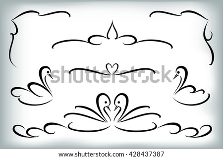Vector set of calligraphic design elements with swans. EPS10 vector illustration - stock vector
