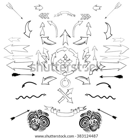 Vector set of calligraphic  hand drawn arrows design elements. - stock vector