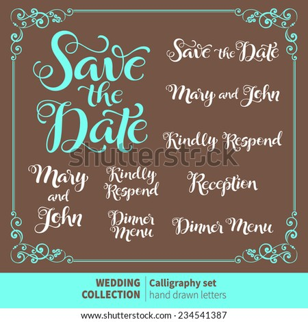Vector set of calligraphic letters for invitation cards with ornamental elements. Wedding typography collection - stock vector