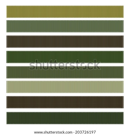 Vector Set of Camouflage Grosgrain Ribbons - stock vector