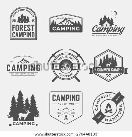 vector set of camping and outdoor adventure vintage logos, emblems, silhouettes and design elements - stock vector