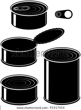 Vector set of cans - canned food - isolated illustration black on white background - stock vector