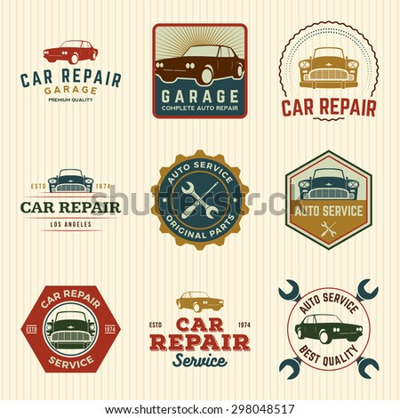 vector set of car repair service labels, badges and design elements - stock vector