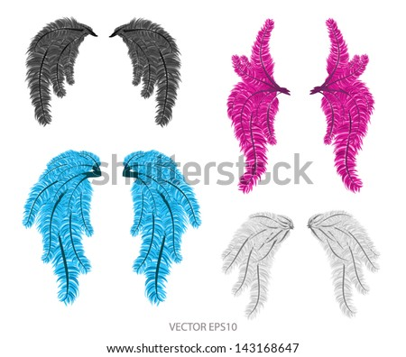 Vector  set of carnival wings isolated - stock vector