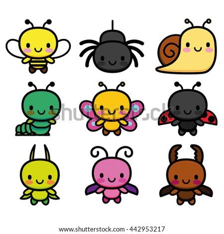 Vector Set Of Cartoon Cute Bugs Isolated - stock vector