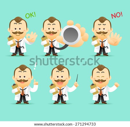 Vector Set of Cartoon Doctor Character, illustration - stock vector